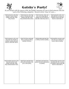 Gatsby Party Game by Hannah Jack High School Reading, High School Classroom, English Classroom, Ela Classroom, English Teachers, Future Classroom, Classroom Decor, Student Teaching, Teaching Reading
