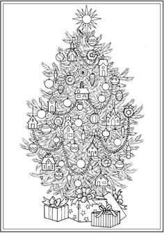 Creative Haven CHRISTMAS TREES Coloring Book By: Barbara Lanza -  Dover Publications COLORING PAGE 4 of  4