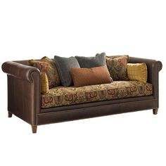 Leather Sofa with Paisley Fabric.