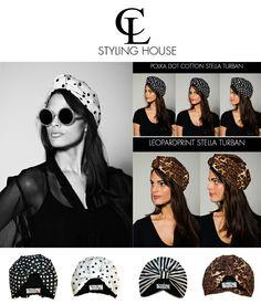 CL STYLING HOUSE New Collection Summer Turban Range #CL #TURBAN #VINTAGE #PolkaDot #MONOCHROME #stripes #stellaturban #leopardprint Turbans, Cl, Monochrome, Headbands, Polka Dots, Stripes, Range, Stylish, Summer