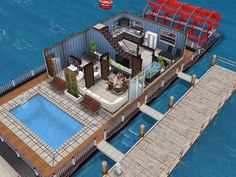 House 19 (houseboat) ground level  #sims #simsfreeplay #simshousedesign Sims Freeplay Cheats, Sims Freeplay Houses, Sims Free Play, Sims House Design, How To Level Ground, Mansions, House Styles, Home Plans, Architecture
