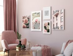 living room wall decor on a budget Wall Art Sets, Large Wall Art, Green Wall Art, Pink Wall Art, Room Wall Decor, Bedroom Wall, Pink Walls, Living Room Art, Gallery Wall