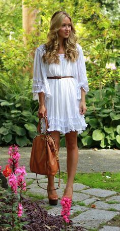 White flouncy dress - I want to be skinny enough to wear this and it not look like a muumuu