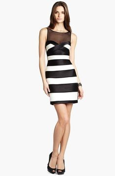 6a41eb4cabf BCBGMAXAZRIA Illusion Neck Striped Dress - ShopStyle