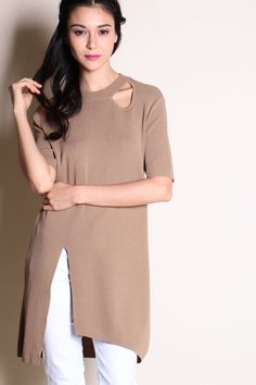 Cut-Out Slit Hem Tunic (Brown) SGD$ 30.00