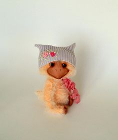 Teddy Bear style Artist viscose vintage OOAK  handmade collectible Duck toy by IntDolls on Etsy