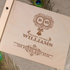 Luxury Large Personalised Wooden Wedding Guest Book Photograph Album Natural