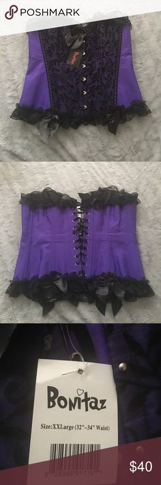 Corset top Purple and black ribbed corset top with lace and bows Tops