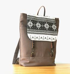 Unisex, Chocobrown canvas backpack with nordic flap, laptop bag, school bag with leather closure,  Design by BagyBags