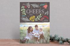 Cheers Floral New Year Photo Cards by Phrosne Ras New Year Photos, Family Photos, Christmas Holidays, Christmas Cards, New Year Card, Photo Cards, Invitations, Cheers, Lettering