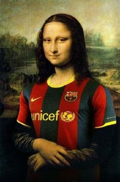 Mona Lisa is a fan of Barça! - fc-barcelona Fan Art