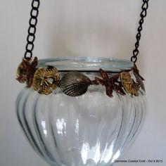 Beach decor jeweled hanging clear glass by CarmelasCoastalCraft