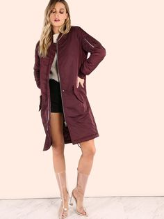 Bundle up in this oversized jacket. Featuring a padded longline bomber jacket with a three pocket design and front button + zip closure. Jacket measures in. from top to bottom hem. Wear over distressed skinnies and a knotted tank + beanie. Fashion News, Fashion Outfits, Oversized Jacket, Jackets For Women, Clothes For Women, Urban Chic, Faux Leather Jackets, Long A Line, Street Wear