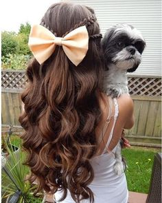 Lovely Mix of Braids, Curls and Bow for Prom