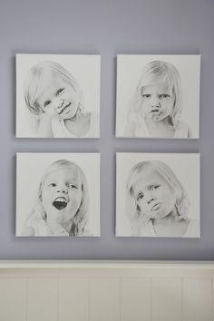composició de 4 quadres en tela i bastidor de fusta