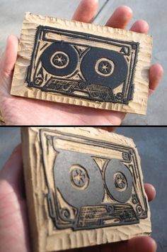 cassette tape wood cut / c. plummer - I might make one :)