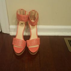 Coral Sandals by Shoedazzle Never worn coral sandals by Shoedazzle. I have purchased too many shoes and I am currently down sizing. Shoe Dazzle Shoes Heels