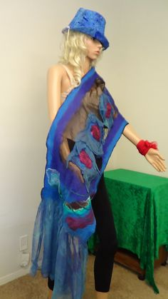 Shawl,Fashion, Felted shawl, Fairy, OOAK, Handmade, in USA, , Wearable art, Organic, felted scarf, Women top,Artistic, Story costumes by rafaelart on Etsy