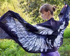 Goddess clothing description for silk scarfs.   Scarf size - 24,5 in x 79 in (62 cm x 200 cm), material - 100% silk satin.  Growth of the model on the photo 173 сm (5'8) , please, note, if you are higher or shoter than that. Blue scarf will become an excellent gift for any person and for any reason. Present wings to the ones you love.   Silk satin 100%. It is recommended to pass the scarf to the dry cleaning, or to wash it very carefully in a soft clearnser. Don't rub or soak it! After…