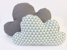 This lovely cloud pillow set is perfect for your little ones room. It has one large grey pillow, and one small pillow with mint triangles.  Size of the pillows:  - Small: approx 33cm wide, 21cm high / 13 X 8.3 - Large: approx 46cm wide, 29cm high / 18 X 11  - Buy small & large for special price of 43$ (you can choose any 2 color).  - This listing is for two cloud pillow.  - For customize color please send me a massage. - Custom orders takes about 1-2 weeks to ship. - Materials: Cotton…