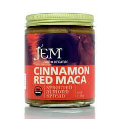 A decadently powerful blend of activated sprouted almonds, raw red maca, robust cinnamon and low-glycemic coconut palm sugar. Unbelievably smooth and rich with just the right touch of sweetness. USDA-certified Organic, Vegan, Raw. 6 oz (170g) in glass jar.