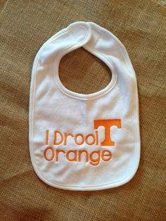Tennessee Vols Baby Bib- UT- I Drool ORANGE Bib  via Etsy