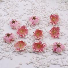 100PCS Mini Fabric Cherry Plum Blossom Artificial Flower Silk Baby Breath Floral Bouquet,Table Arrangements Weddding Decorations