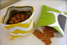 Sewing Projects for Beginners - Snack bag. Great for when you want to avoid loud, crunchy bags!