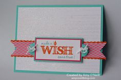 Stamps:  Gorgeous Grunge, Make a Wish Ink:  Coastal Cabana, Pumpkin Pie Paper:  Coastal Cabana, Strawberry Slush, Pumpkin Pie, Whisper White, In Color dsp stack Embellishments:  Iridescent Ice Stampin' Emboss Powder, Dotted Scallop Ribbon Border punch, Vintage Faceted Designer Buttons, White Baker's Twine, Apothecary Accents framelits