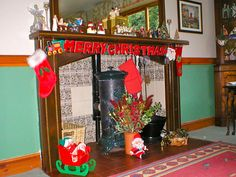Fire Place Dressed Ready for Christmas 2004. ( Four Marks )