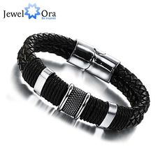 Wide Mens Weave Chain Wristband Leather Bracelet For Men Classic Bracelet Bangle Jewelry Gift For Man (JewelOra BA101163)
