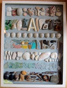 "Memory frame with seaside ""finds"" - nice!"