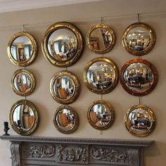 Great Set of 12 Porthole Convex Mirrors