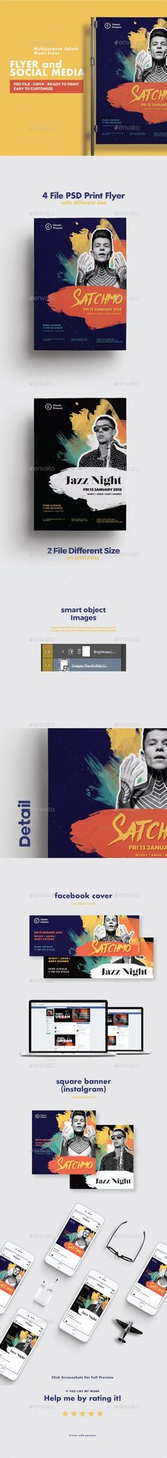 Multipurpose Splash Music Event Flyer and Social Media — Photoshop PSD #splash #simple • Available here ➝ https://graphicriver.net/item/multipurpose-splash-music-event-flyer-and-social-media/21050512?ref=pxcr