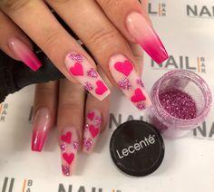 Bling Acrylic Nails, Acrylic Nails Coffin Short, Best Acrylic Nails, Gel Nails, Nailart, Cute Acrylic Nail Designs, Nail Designs Hot Pink, Fire Nails, Heart Nails