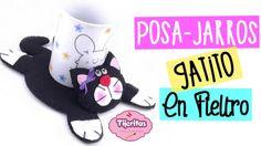 IDEAS PARA REGALAR Posa Jarros de Gatito - Facil - Manualidades en Fieltro paño lenci - http://cryptblizz.com/como-se-hace/ideas-para-regalar-posa-jarros-de-gatito-facil-manualidades-en-fieltro-pano-lenci/