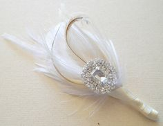 Satin Ribbon Lapel Pins | ... Ivory White Champagne Peacock Feather Boutonniere Lapel Pin Buttonhole