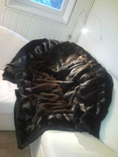 Fur blanket - recycled old coats of mink and racoon
