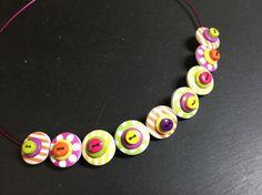 Button Necklace Spots and Stripes Wooden Button Choker Tutti Frutti £9.50