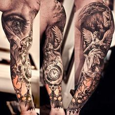 woman tattoo sleeve angels and demons - Google zoeken