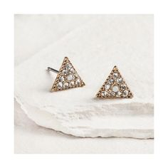 Cost Plus World Market Gold Rhinestone Triangle Earrings ($4.99) ❤ liked on Polyvore featuring jewelry, earrings, triangle earrings, rhinestone earrings, gold jewellery, rhinestone stud earrings and yellow gold jewelry
