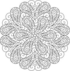 Paisley mandala coloring page sample from Dover Publications #doodle #pattern