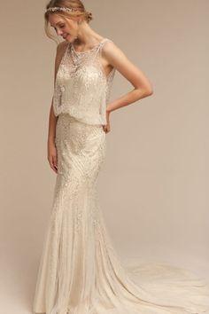 BHLDN's  Jacinda Wedding Gown - Top 5 Art Deco Wedding Dresses with Gatsby Glamour https://www.loveandlavender.com/2018/01/art-deco-wedding-dresses/