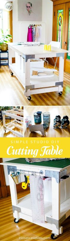 Sewing & Cutting Table DIY for Your Craft or Sewing Studio is part of Sewing crafts House - Make the ultimate cutting table for your craft or sewing studio! Use our easy tutorial to make a custom DIY cutting table using basic supplies from Home Depot Sewing Room Design, Sewing Spaces, Sewing Studio, Sewing Rooms, Design Room, Craft Room Tables, Diy Table, Craft Rooms, Dining Table