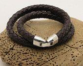 FREE SHIPPING.Men's leather bracelet.Brown leather  bracelet.Men bracelet  with silver plated clasp.Handmade leather bracelet.