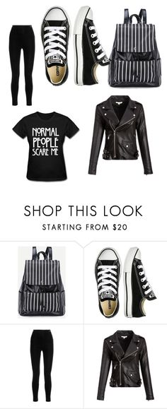 """""""cute goth school outfit"""" by lwhiteunicorn ❤ liked on Polyvore featuring Converse and Balmain"""