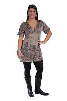 Katydid Collection Ladies Taupe Weave Knit Black Rhinestone Sublimation S/S Dress