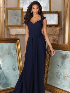 A-Line/Princess Chiffon Sweetheart Floor-Length Sleeveless Bridesmaid Dresses at HerDress Online