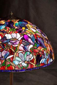 Tiffany Magnolia lamp - ready to send straight away. Give your room a 'WOW' in less than 10 days. Tiffany Stained Glass, Stained Glass Lamps, Tiffany Glass, Stained Glass Windows, Antique Lamps, Vintage Lamps, Chandelier Lamp, Chandeliers, Stained Glass