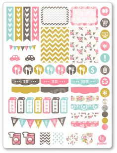 Shabby Chic Weekly Spread Planner Stickers for Erin Condren Planner, Filofax…